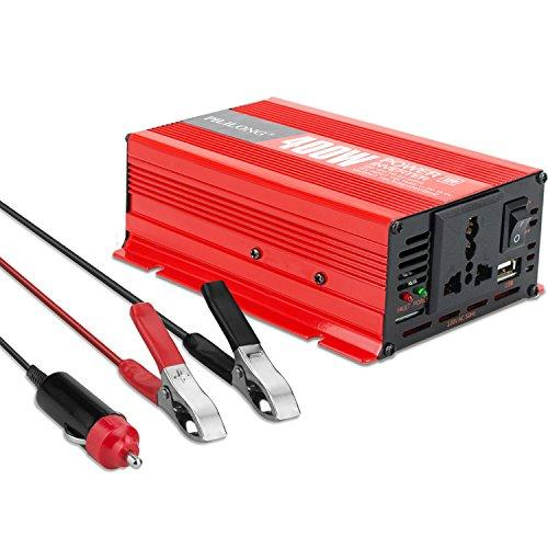 LaiRun 400W Power Inverter DC 12V to AC 230V 240V Converter Power Supply with Cigarette Lighter Adapter in Car and Crocodile Clips for Battery, USB Charging Port and AC Outlet Socket (400W)