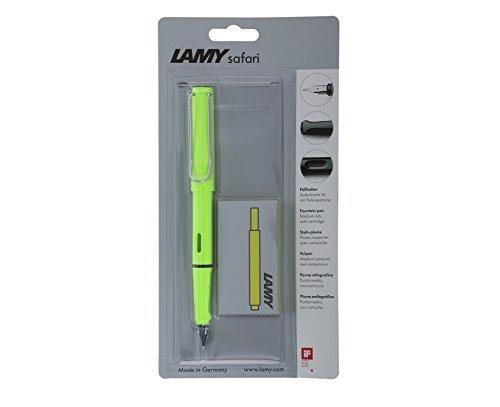 Lamy Safari Neon Fountain Pen and Pack of 10 Cartridges Lime - Color: Lime