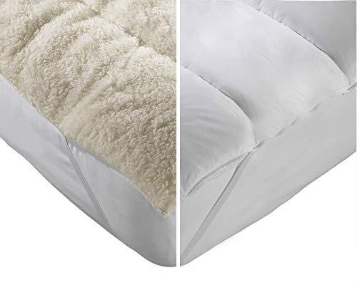 "Lancashire Textiles Luxury All Season Hollowfibre Reversible 5CM (2"") Deep Mattress Enhancer Topper Reviver with Elasticated Corner Straps with Breathable Cool Cotton Side for Summer - Double Size"