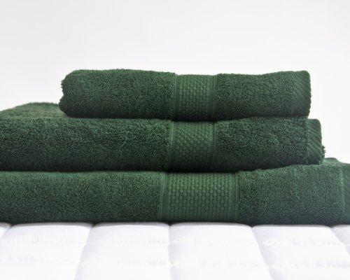 Lancashire Textiles Supreme 500gsm Egyptian Cotton Solid Imperial Bath Sheet Pair - Bottle Green