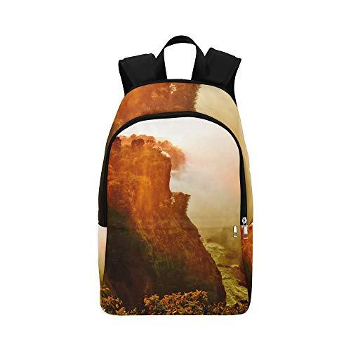 Landscape Sunset at Victoria Falls Casual Daypack Travel Bag College School Backpack for Mens and Women