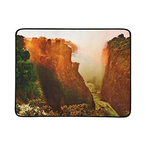 Landscape Sunset At Victoria Falls Pattern Portable And Foldable Blanket Mat 60x78 Inch Handy Mat For Camping Picnic Beach Indoor Outdoor Travel