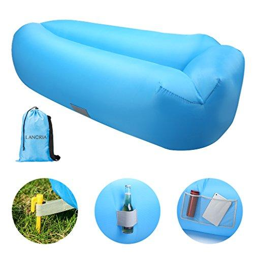 LANGRIA Inflatable Air Lounger Chair Lazy Sofa Indoor/Outdoor Self Inflating Waterproof Blow Up Couch Tear-Resistant With Bottle Holder For Camping, Beach, Park, Pool, Picnics (200KG Support, Blue)