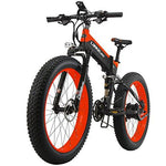 LANKELEISI 26'' Fat Folding Electric Bicycle 48V 10Ah Shimano 27 Speed Full Suspension Snow Mountain MTB E-Bike with 1000W Motor,Dual Hydraulic Disc Brake (Black-Red)