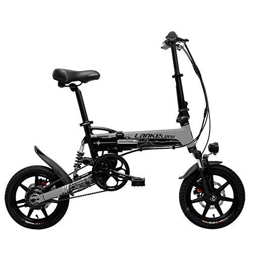 LANKELEISI G100 14 Inch Folding Electric Bicycle, 400W Motor, Full Suspension, Double Disc Brake, with LCD Display, 5 Level Pedal Assist (Black Grey, 8.7Ah)