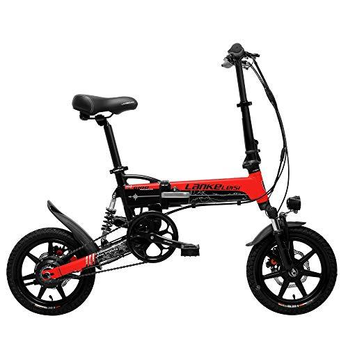 LANKELEISI G100 14 Inch Folding Electric Bicycle, 400W Motor, Full Suspension, Double Disc Brake, with LCD Display, 5 Level Pedal Assist (Black Red, 8.7Ah + 1 Spare Battery)