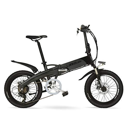 LANKELEISI G660 20 Inch Folding Mountain Bike 240W Motor 48V 14.5Ah Lithium Battery Suspension Fork Pedal Assist Electric Bike (Black Grey, 240W 14.5Ah)