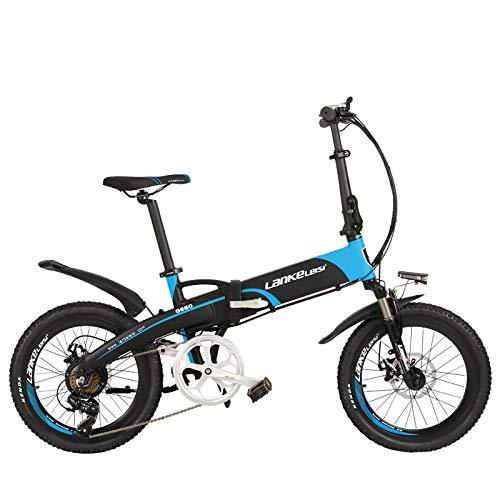 LANKELEISI G660UP 20 Inch E-bike, 5 Grade Assist Folding Electric Bicycle, 500W Motor, 48V 10Ah/14.5Ah Lithium Battery, with LCD Display (Black Blue, 14.5Ah + 1 Spare Battery)