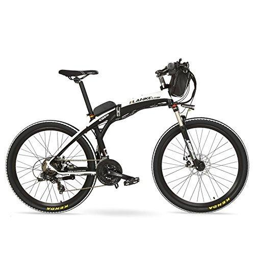 LANKELEISI GP 26 Inches Fashion Electric Quick-Folding Mountain Bike, 48V 12Ah Battery, 240W Motor,Both Disc Brake,30~40km/h (Black White, Standard)