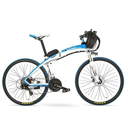 LANKELEISI GP 26 Inches Fashion Electric Quick-Folding Mountain Bike, 48V 12Ah Battery, 240W Motor,Both Disc Brake,30~40km/h (White Blue, Plus 1 Spared Battery)