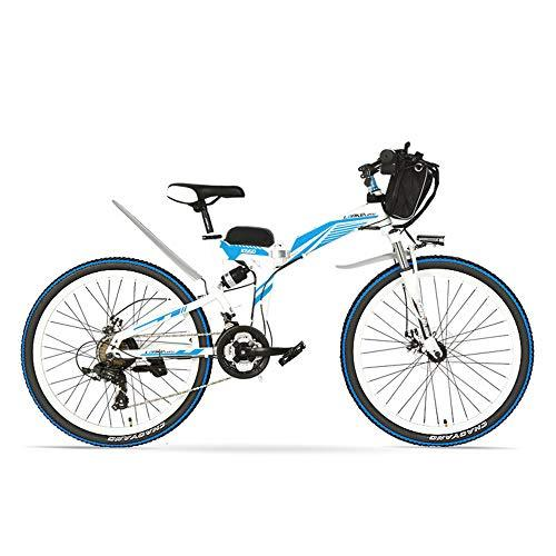 LANKELEISI K660 26 Inch Powerful Folding Electric Bicycle, 21 Speed Mountain Bike, 48V 500W Motor, Full Suspension, Front and Rear Disc Brake (White Blue)