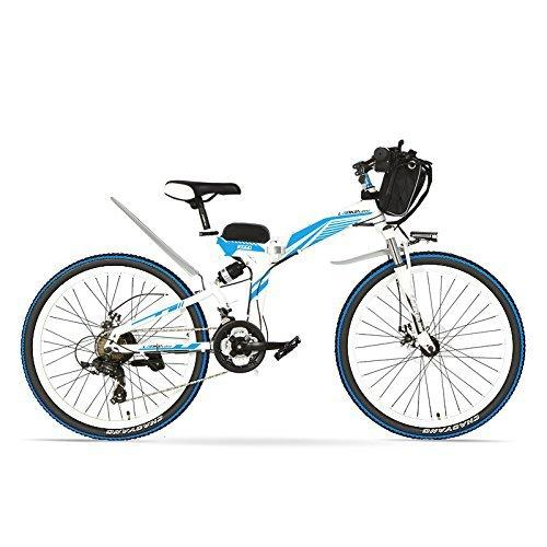 LANKELEISI K660D 26 Inches Strong Powerful E Bike, 48V 12AH 500W Motor, Full Suspension High-carbon Steel Frame, Folding Electric Bicycle,Disc Brake. (White Blue, 500W + 1 Spared Battery)