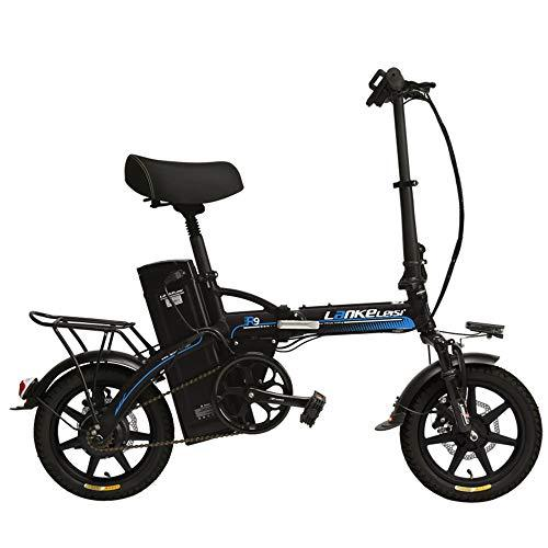 LANKELEISI R9 14 Inch Electric Bicycle, 350W/240W Motor, 48V 23.4Ah Large Capacity Lithium Battery, 5 Grade Assist Folding Ebike, Disc Brakes (Black Blue, 240W + 1 Spare Battery)