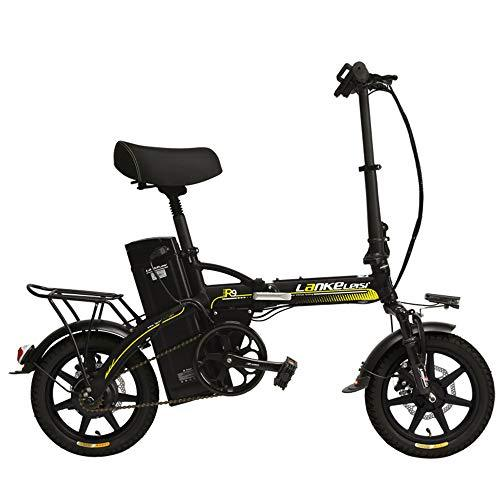 LANKELEISI R9 14 Inch Electric Bicycle, 350W/240W Motor, 48V 23.4Ah Large Capacity Lithium Battery, 5 Grade Assist Folding Ebike, Disc Brakes (Black Yellow, 350W + 1 Spare Battery)