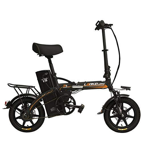 LANKELEISI R9 14 Inch Electric Bicycle, 350W/240W Motor, 48V 23.4Ah Large Capacity Lithium Battery, 5 Grade Assist Folding Ebike, Disc Brakes (Grey Orange, 240W)