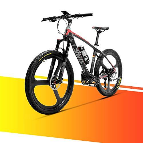 LANKELEISI S600 MTB Mountain Bike Carbon Fiber Super-Light 18kg No Electric Bike with Hydraulic Brake Shimano Altus (Black + Red)