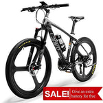 LANKELEISI S600 Super-Light 18kg Carbon Fiber Mountain Bike PAS Electric Bicycle with Shimano Altus Hydraulic Brake (Black&white)