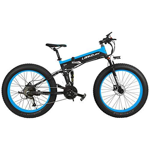 LANKELEISI T750P 26 Inch Folding Mountain Bike 1000W/500W Motor 48V 14.5Ah Lithium Battery with Bike Computer Pedal Assist Electric Bike (Black Blue, 1000W 10Ah + 1 Spare Battery)