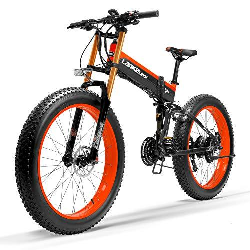 LANKELEISI T750Plus New Electric Mountain Bike 5-Level Pedal Assist Sensor,Powerful Motor,48V 14.5Ah Li-ion Battery Upgraded to Downhill Fork Snow Bike (Black Red, 1000W + 1 Spare Battery)