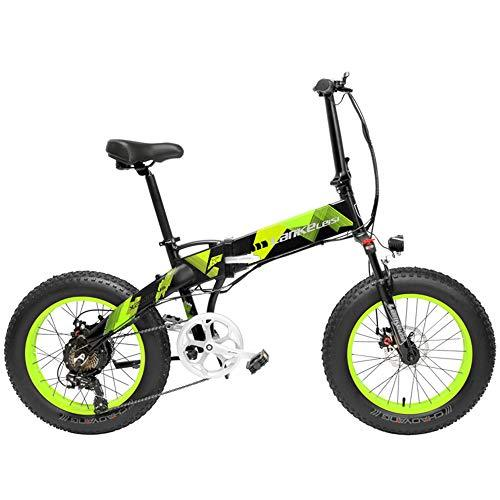 LANKELEISI X2000 20 Inch Fat Bike Folding Electric Bicycle 7 Speed Snow Bike 48V 10.4Ah/14.5Ah 500W Motor Aluminium Alloy Frame 5 PAS Mountain Bike (Black Green, 14.5Ah + 1 Spare Battery)