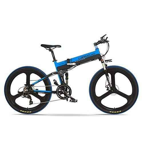LANKELEISI XT750-E 26 Inch Folding Electric Bike, Front & Rear Disc Brake, 48V 400W Motor, Long Endurance, with LCD Display, Pedal Assist Bicycle (Black Blue, 10.4Ah)