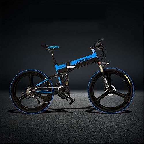 LANKELEISI XT750-S 26 Inch Folding Electric Bike, Hydraulic Disc Brake, 400W Motor, Top Brand Battery, Long Endurance, 5 Pedal Assist (Black Blue, 14.5Ah + 1 Spare Battery)