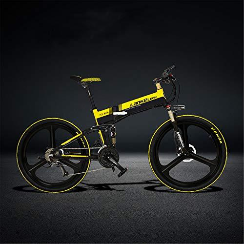LANKELEISI XT750-S 26 Inch Folding Electric Bike, Hydraulic Disc Brake, 400W Motor, Top Brand Battery, Long Endurance, 5 Pedal Assist (Black Yellow, 10.4Ah)