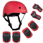 LANOVAGEAR Kids Adjustable Sports Protective Gear Set Safety Pad Safeguard (Helmet Knee Elbow Wrist) for Roller Bicycle BMX Bike Skateboard Hoverboard and Other Extreme Sports Activities (Red)