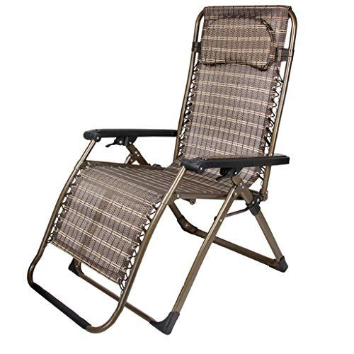 LAOMAO Widened Lounge Chairs, Folding Chairs, Lunch Break Chairs, Deck Chairs, Casual Chairs, Beach Chairs (color : Gold stripes)