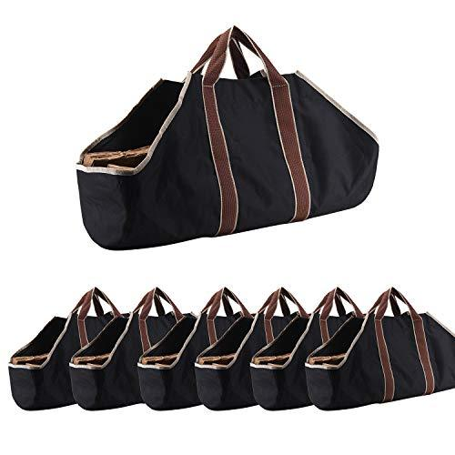 Large Canvas Log Tote Bag Carrier Indoor Fireplace Landman Firewood Totes Holders (6)