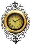 Large Oval Ornate Metal Wall Art Clock, Gilt & Pearl Design