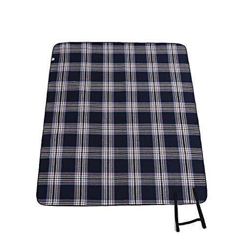 Large Picnic Blanket Mat - 200 * 170cm Bule Tartan Carpet With Waterproof Backing Portable Folding Beach Rug for Outdoor Garden Camping Hiking Travelling