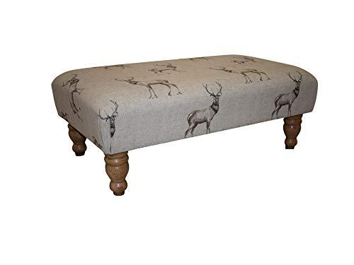 Large Stag Print Fabric Footstool On Hard Wood Turned Waxed Legs - 77cm x 46cm x 31cm