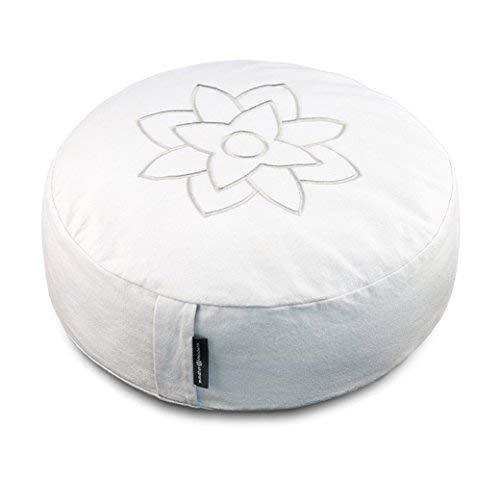 Large White Meditation Pillow Cushion by Mindful & Modern - Zafu Buddhist Yoga Bolster for Best Posture - Buckwheat Hull Filled Round Cushion with Removable Cover + Carry Handle