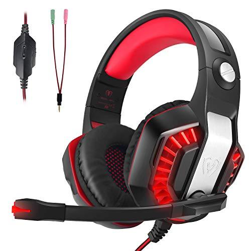 LATEC Gaming Headset for XBOX ONE, PS4, Nintendo Switch, Desktop, Mobile, Tablet, Laptop, Gaming Headphones with Mic Noise Cancellation Volume Control LED Lighting (Red)