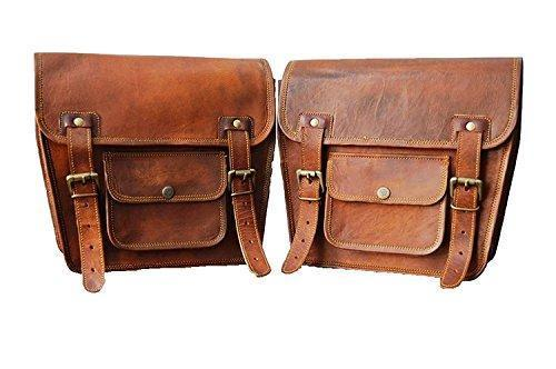LBH 2 X Motorcycle Side Pouch Brown Leather Side Pouch Saddlebags Saddle Panniers (2 Bags) Motorcycle Bicycle Bike