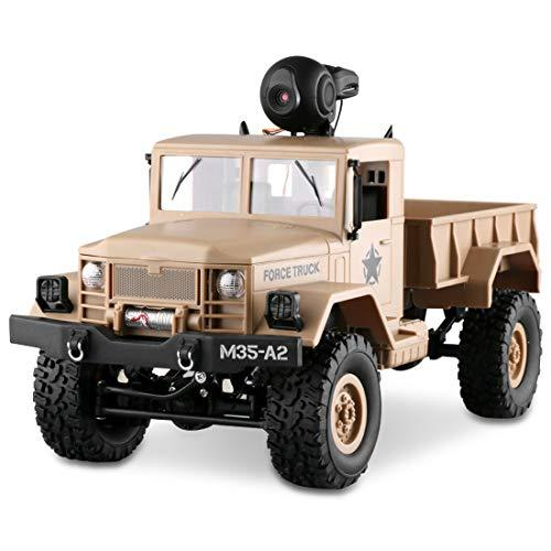 LBLA RC Military Truck Wi-Fi HD Camera 1:16 Scale Remote Control Off-Road Army Car 4WD 2.4Ghz Vehicle Crawler RTR Adults Kids (Included 2 Kinds Wheels)