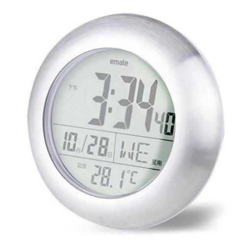LCD Stylish Waterproof Bathroom Clock Electronic Bell Wall Temperature Sensor Display Super Sucker