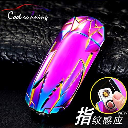 LCottage Creative sports car fingerprint lighter charging usb windproof electronic cigarette lighter induction ignition personality birthday gift, colorful purple