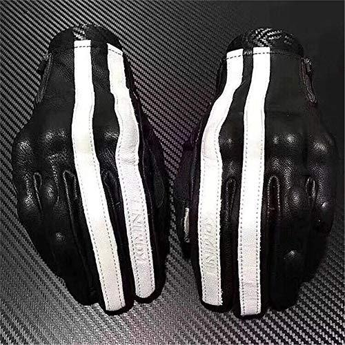 LCRCRCZ gloves Harley retro Motorcycle Gloves invisible protective clothing leather gloves all fingers Knights gloves,L,black