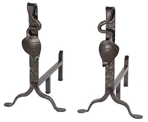 Leaf Andirons Pair (Hand Rubbed Pewter)