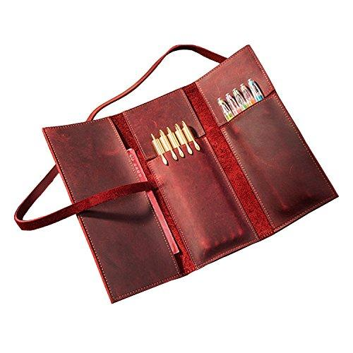 Leather Pen Set Retro Leather tri-fold Pen Holder Roller Blind Hand-Made Multi-Function Leather Pen Bag Leather Pen case