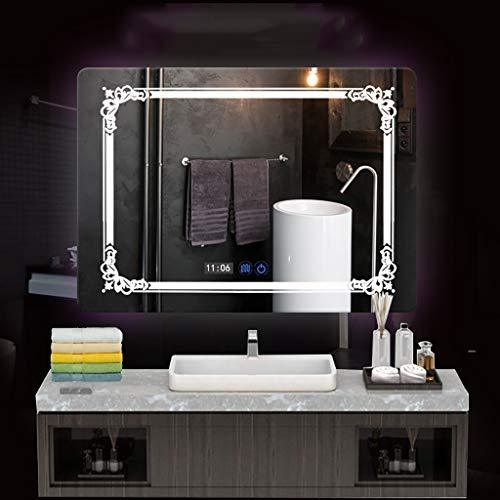 LED Bathroom Wall Mirror Anti Fogging Illuminated Bathroom Mirror with Touch Switch,5MM Waterproof Carving Pattern Mirror White Warm Light Rectangle Washroom Toilet Makeup Mirror