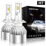 LED Car Headlight Bulbs H7, AMBOTHER All-in-One Conversion Kit CSP Chips Super Bright 7200LM 72W Exterior Headlamp with 2X Car Dust Covers Included Cool White (Upgraded)