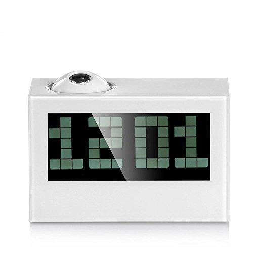 LED Projection Clock Temperature Luminous Large-Screen Digital Projection Projection Alarm Clock , white