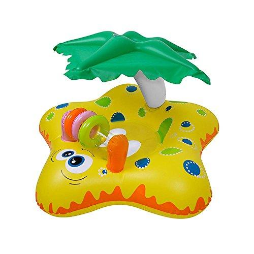 Leegoal Inflatable Baby Float, Children Swimming Float Ring with Sun Canopy Child Seat Boat Inflatable Pool Toys Swimming Pool Accessories Suitable for Baby/Children/Kid, Yellow