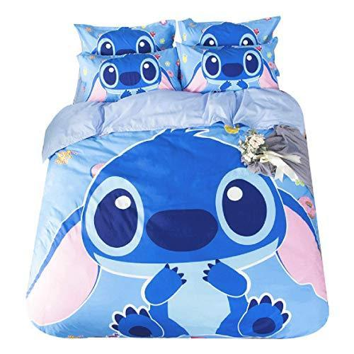 Leezeshaw 3 Pcs Cartoon Stitch Print Duvet Cover Set with Two Pillow Cases,Cute Lilo end Stitch Pattern Bedding Set Single/Double Size for Kids & Teens(No Comforter)