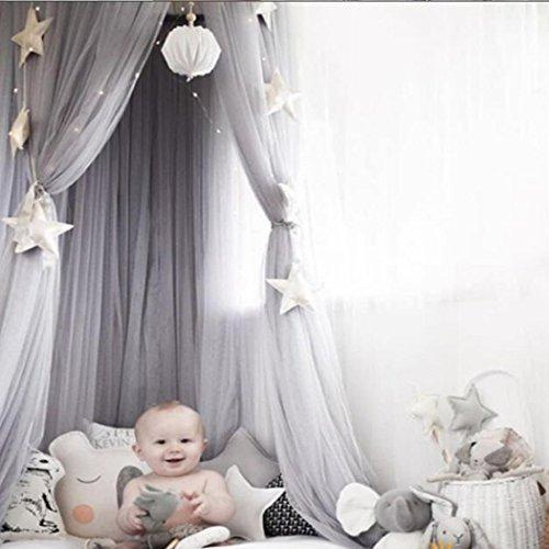 Leezeshaw Dome Bed Canopy Mosquito Net Curtains Tent with Stars for Girls Toddlers and Baby Kids