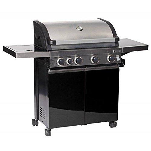 LeisureGrow Grillstream Classic 4 Burner Roaster - Stainless Steel - Gas Barbecue 4 Burners - Black bbq - Cast Iron Griddle
