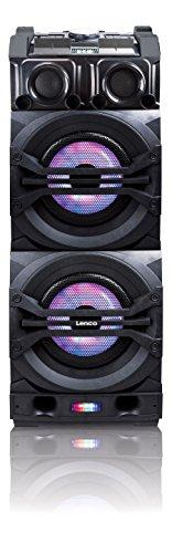 Lenco PMX-350 | Portable DJ Mixer Bluetooth Speaker System with up to 12 hours Playtime, Handle with Wheels includes Wireless Microphone